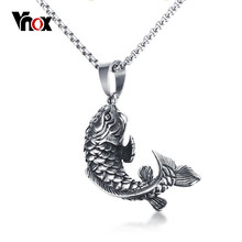 "Vnox Chinese Lucky Carp Cyprinoid Fish Shape Pendant Necklace 24"" Chain High Quality Stainless Steel Men Necklace Jewelry(China)"
