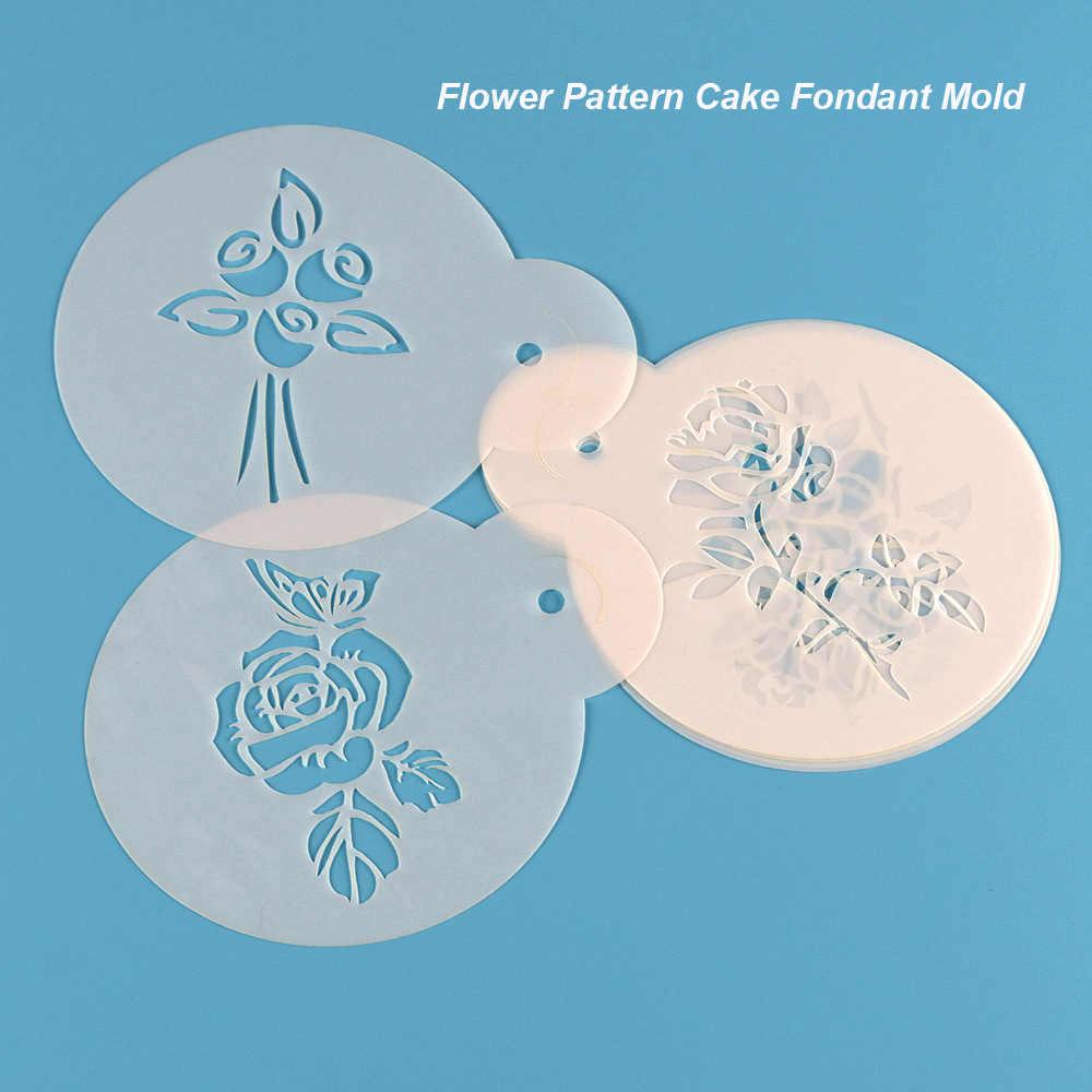 6 ピース/セットプラスチックケーキクッキーステンシルフォン型ローズ花ビスケットベーキングモールドケーキボーダー装飾菓子スプレーツール