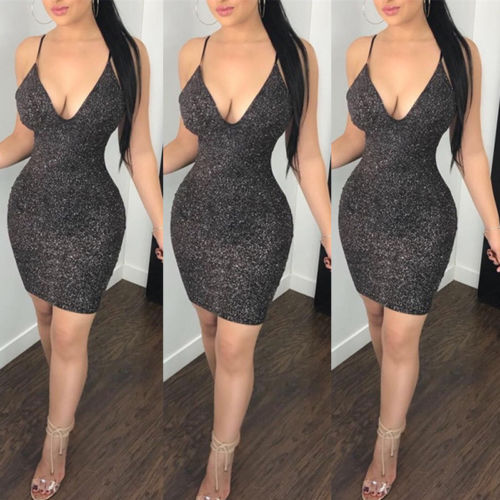 2019 New Fashion US <font><b>Sexy</b></font> Women Ladies Bandage V <font><b>Neck</b></font> Sleeveless Evening Party <font><b>Cocktail</b></font> Pencil <font><b>Sexy</b></font> <font><b>Dress</b></font> <font><b>Elegant</b></font> Casual Slim image