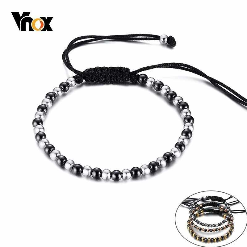 Vnox Handmade Braid Rope Bracelets for Women Man with Lace-up Size Adjustable Unisex Beads Strand Bracelet Bangle Bijoux