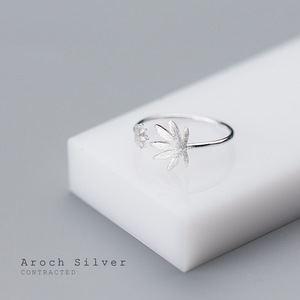 Image 4 - Factory Price 100% 925 Sterling Silver Fashion Concise Maple Leaf Open Ring Fine Jewelry for Female