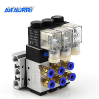 4V210 08 DC24V 2 Positions 5 Way Quadruple Solenoid Valve Aluminum Base Fitting Mufflers Set 5 Stations