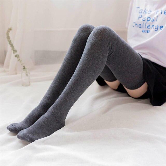 8c38672ae Cotton Thigh Socks Lengthening 80cm High Socks Autumn Women Socks Japanese  Stockings Retro Student Thigh Over