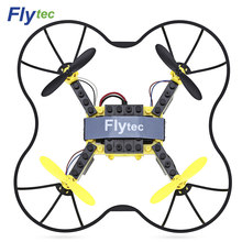 Clearance Flytec T11 RC Drone DIY Building Blocks 3D Flip Quadcopter 2.4G 4CH Aircraft With Colorful LED Light RC Toys(China)