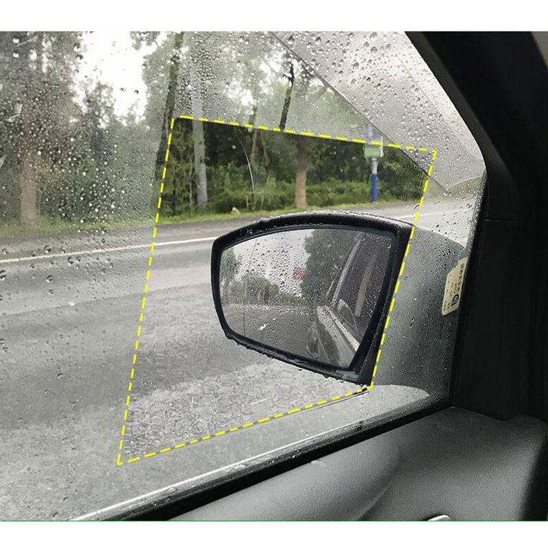 2pcs Car Window Glass Rain Film Protective Film Anti Fog Window Clear Rainproof Rear View Mirror Protective Soft Film Universal