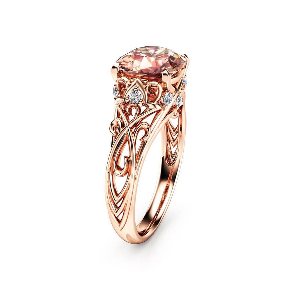 14k Rose Golden Flower Diamond Ring Gem Topaz Bizuteria Anillos De Wedding Rings for Women garnet peridot Gemstones women