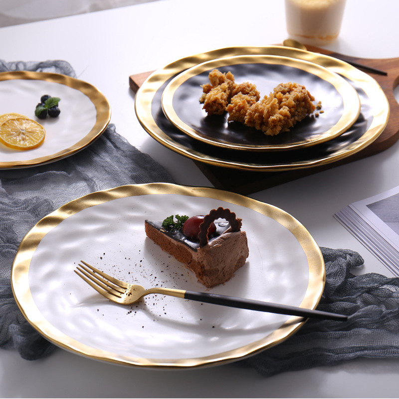 Luxe Eetkamer Set.8inch 10inch Gold Ceramic Plate Dish White Black Tableware Set