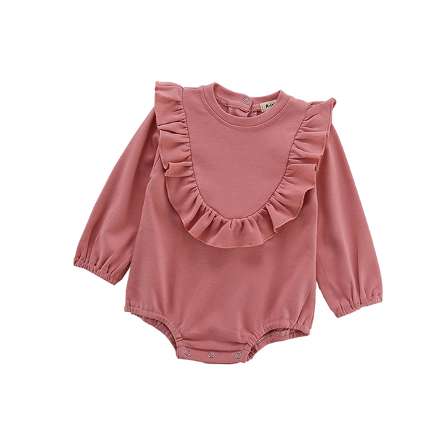 Toddler Baby Girls Ruffle Outfits Long Sleeve Cotton Solid