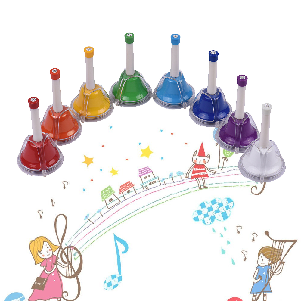 8 Note Diatonic Metal Bell Colorful Handbell Hand Percussion Bells Kit Musical Toy For Kids  For Musical Learning Teaching