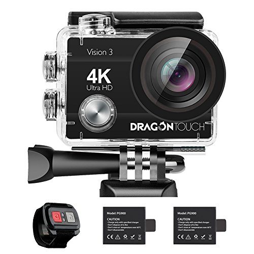 AKASO DragonTouch 4K Action Camera 16MP Vision 3 170 Wide Angle WiFi Sports Camera Underwater Waterproof Camera Remote Control