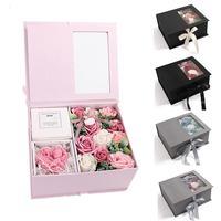 Valentine Kraft Paper Artificial Rose Flower Gift Box Handmade DIY Box Girl Birthday Women Wedding Cut Gift Good Wish Box Bags