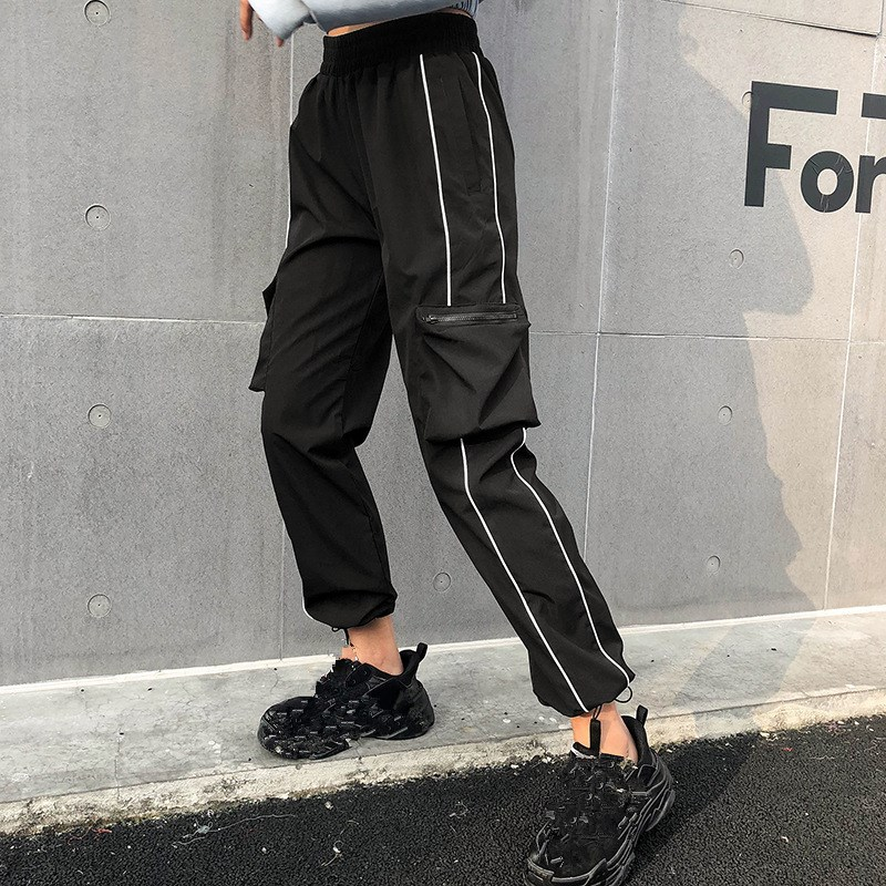 Harajuku Casual Black   Capris     Pants   Women Elastic Waist Cargo   Pants   Korean Streetwear Stripes Sweatpants