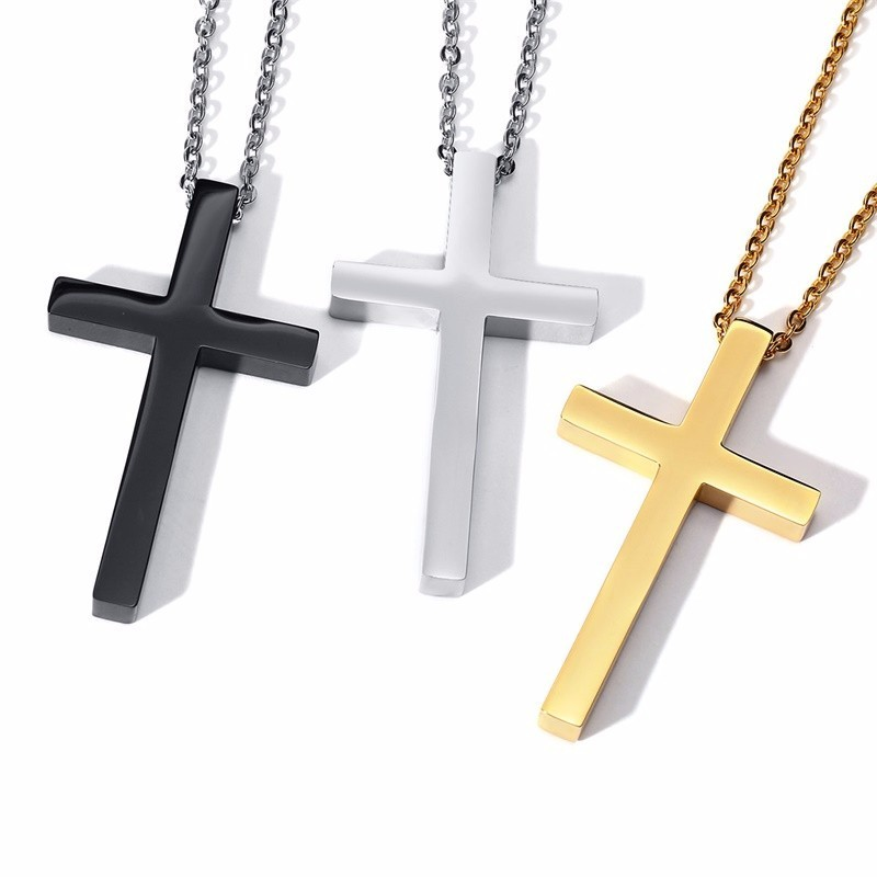LARGE GOLD CROSS NECKLACE FOR MEN STAINLESS STEEL PENDANT FOR MEN WOMEN JEWELRY in Pendant Necklaces from Jewelry Accessories