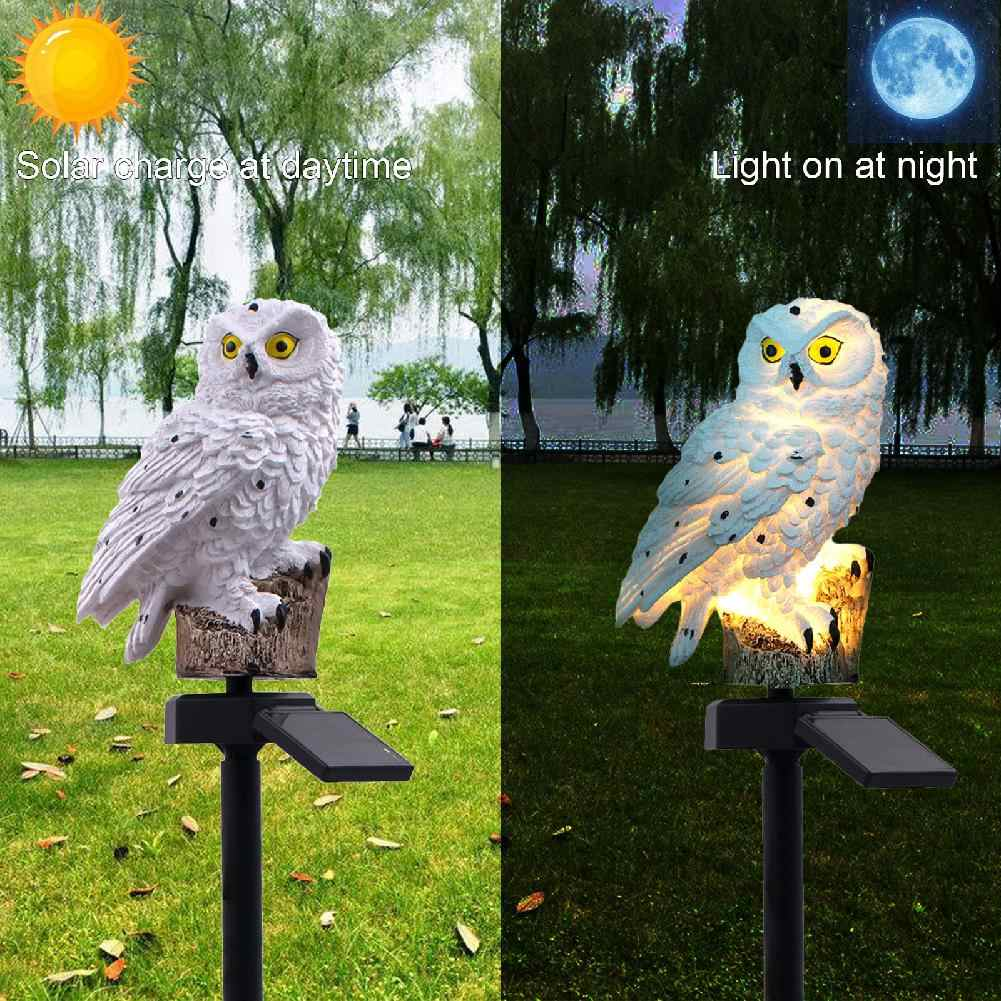 Waterproof White Owl LED Solar Lawn Garden Light for Outdoor Yard Garden Landscape Lighting Decoration Keep Birds&Squirrels Away