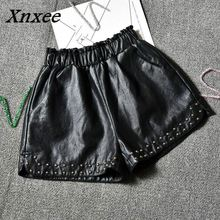 Xnxee Leather Shorts Female Autumn Winter New Slim High Waist Loose Wide Leg Shorts Women Elastic Waist Beading Shorts 66155 new 2019 fall winter women real leather high waist wide leg shorts fashion high quality sheepskin leather short trousers a858