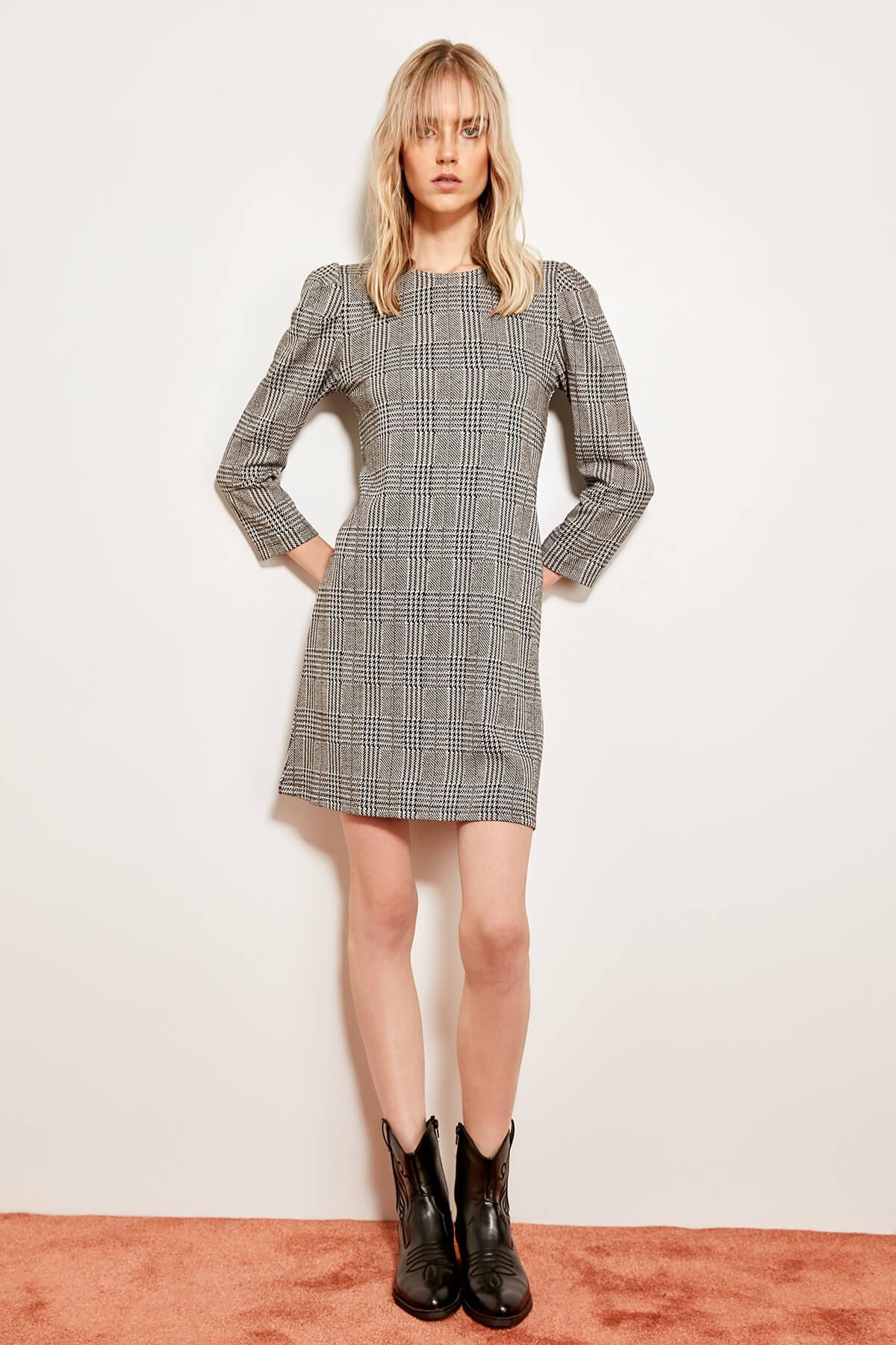 e114aea391 Trendyol Gray Textured Knitted Dress TCLAW19NN0059