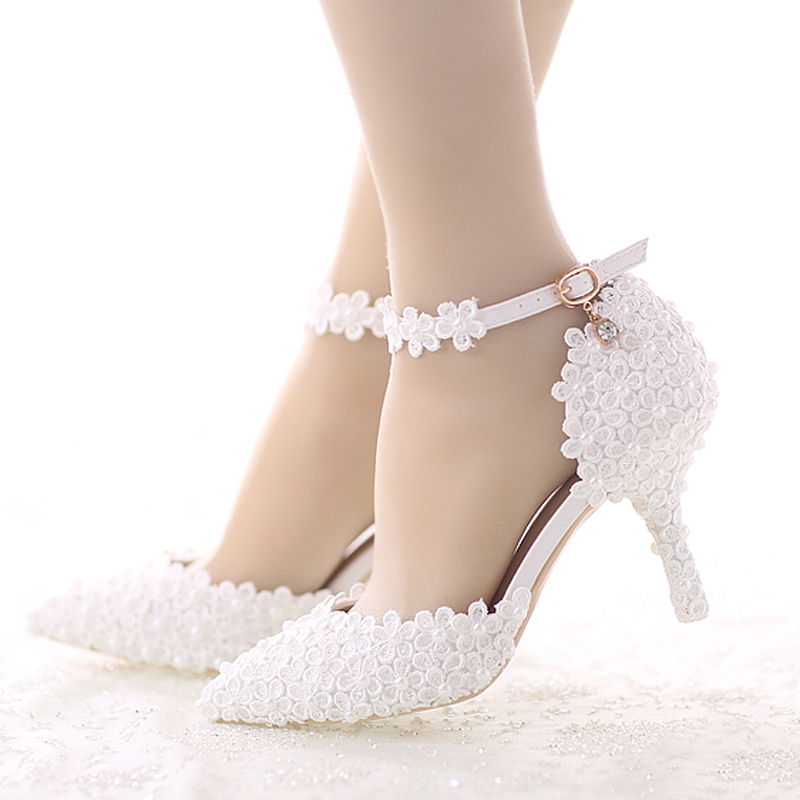 Stiletto Blanc Pompes White Heels Talon De Pointu Cheville Mariée D'honneur Chaussures Bout Demoiselle Fleur Heels 7cm Noce Avec Moyen white 9cm Boucle Dentelle Robe K1Ju3T5clF