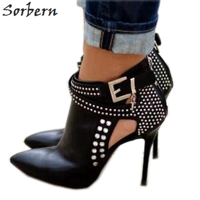 Sorbern Black PU Ankle Boots Plus Size Boots Women High Thin Heels Pointed Toe Zipper Zapatos Mujer Bottine Femme Real Boot