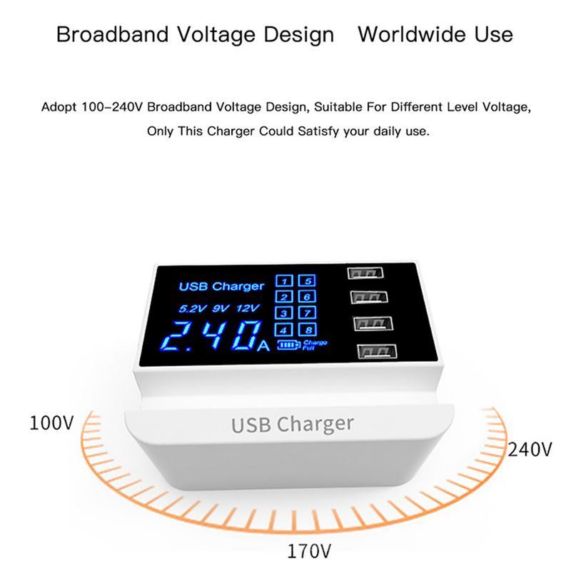 Intelligent Fast Charging 2.0 Charger LED Display 4 USB Bracket Intelligent IC A