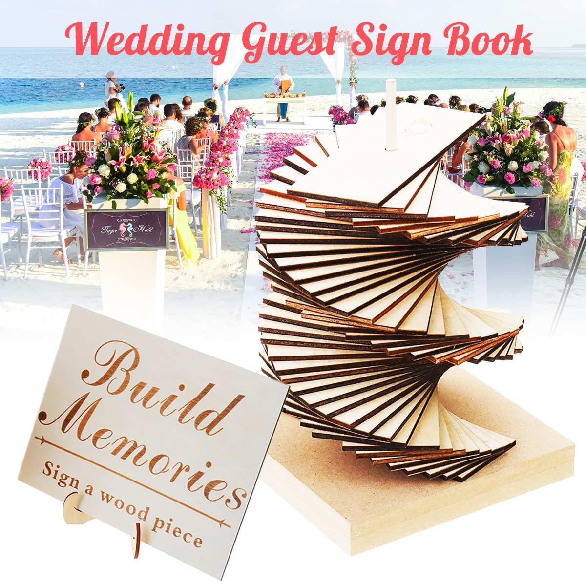 Livre en bois de signe de Signature d'invité de mariage 3D gravé construisent des souvenirs livre d'or pour des ornements de décor de mariage avec 50 panneaux de signe