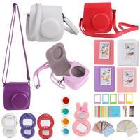 7 in 1 Camera Accessories Handbag for Fujifilm Instax Mini 8 Leather Camera Case Bags adjustable Strap/Selfie Lens/Filters/Album