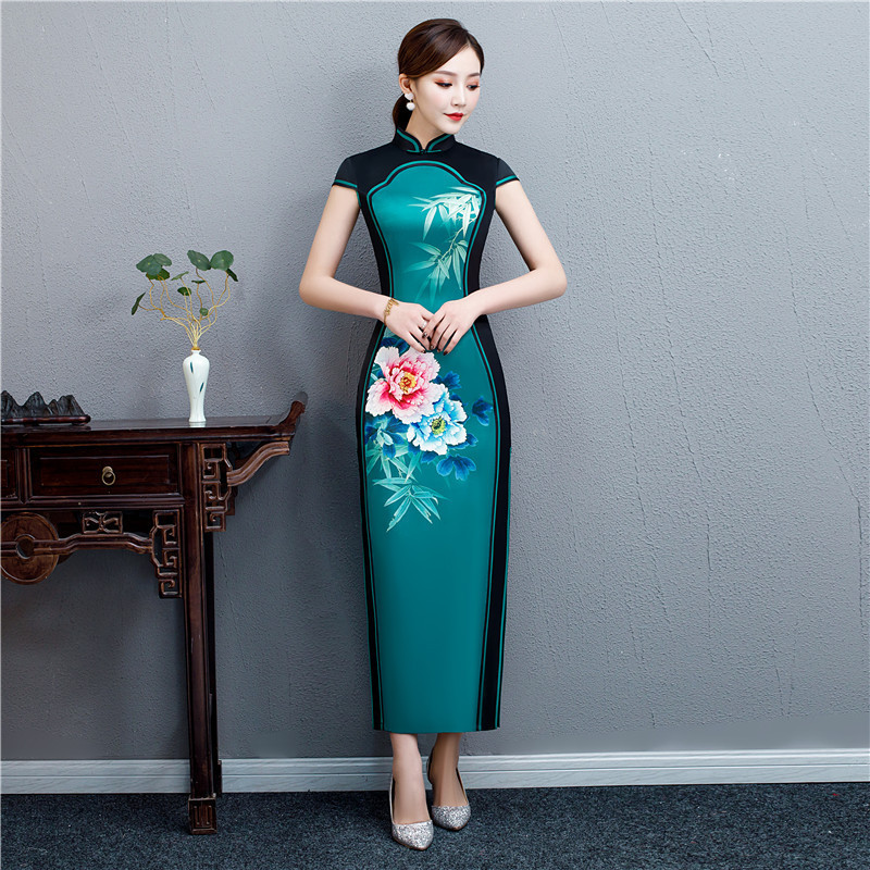 Oriental Style Vintage Gown Long Cheongsam Modern Double Color Splice Qi Pao Women Chinese Dress Qipao Similar Silk Dresses