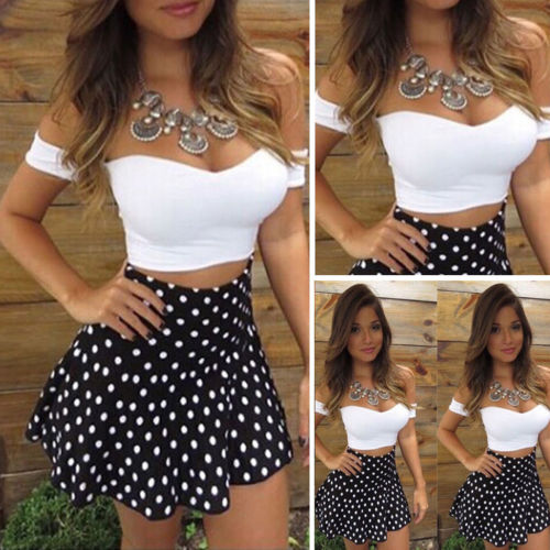 Women Sexy 2 Piece Bodycon Two Piece Crop Top And Skirt Set Lace Up Dress Party