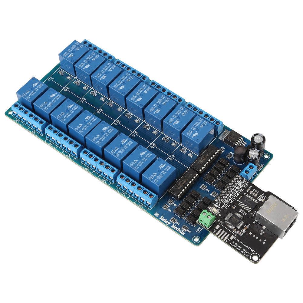 Módulo de Controle Ethernet Lan de Rede Wan Porta RJ45 16 Relé Canal Do Servidor Web É Ethernet controlador board. RJ45 interface
