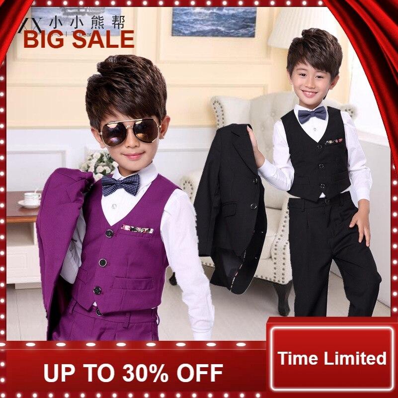 3 adet Çocuk takım elbise Yüksek Kalite Düğün erkek takım elbise Ceket pantolon yelek çocuk Resmi Elbise Okul Öğrenci parti giysileri