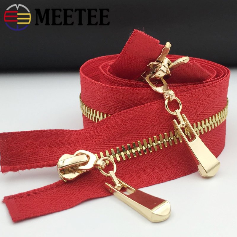 Meetee 1Pc 5# Double Sliders Metal Zippers Eco-friendly Zipper Zip For Sewing Down Coat Garments Sewing Accessories Tools ZA105