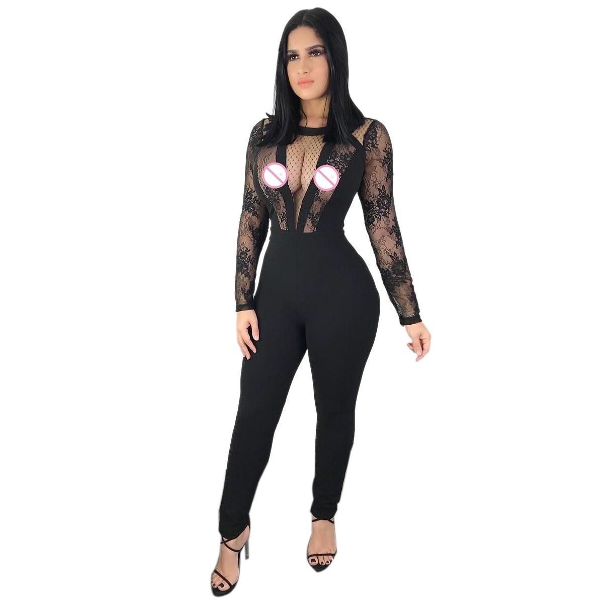PüNktlich Frauen Sheer Mesh-body Plus Größe Körper Tops Transparent Langarm Schwarz Overall Body Damen Overall-club Overalls Bodys