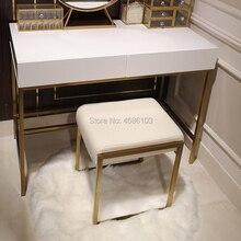 Абсолютно квадратный роскошный косметический Золотой металлический стул, мебель для дома, Скандинавская мебель, стулья, современная мебель