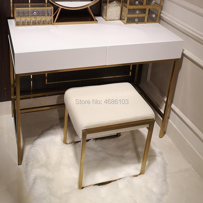 2019 nouveau carré luxe cosmétique or métal chaise maison meubles meubles nordiques chaises meubles modernes