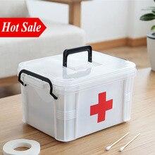 Белая пластиковая Домашняя аптечка, медицинская коробка, 2 слоя, портативная, для кемпинга, для выживания, Аварийные наборы, для лечения, коробка для хранения лекарств