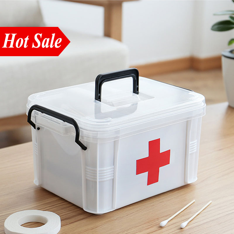 White Plastic Home First Aid Kit Medical Box 2 Layers Portable Camping Survival Emergency Kits Treatment Medication Storage Box White Plastic Home First Aid Kit Medical Box 2 Layers Portable Camping Survival Emergency Kits Treatment Medication Storage Box