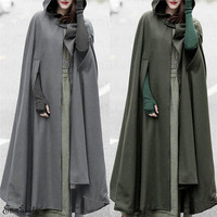2019 New Fashion Womens Shawl Woolen Long Poncho Cloak Winter Warm Coat Jacket Outdoor Clothes Shawl Wool Wrap