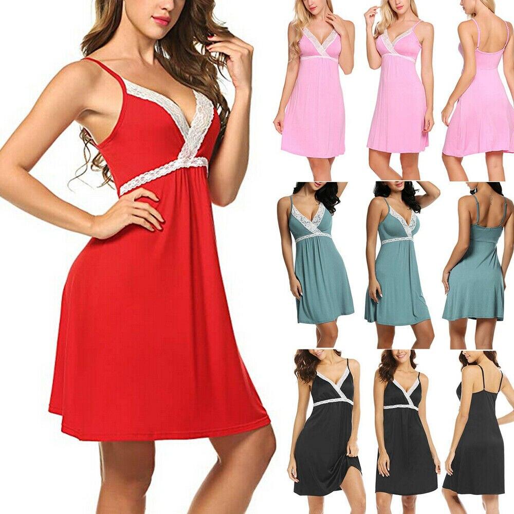 Women Sexy Lace Lingerie Sleep Dress Nightwear Babydolls Ladies Deep V Sleepwear Nightgowns Underwear G-string 2pcs