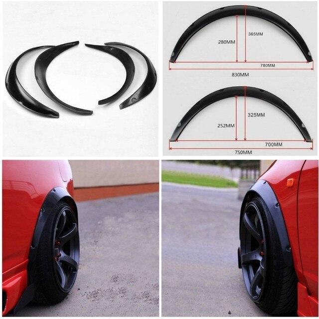 4x negro Universal guardabarros Flare Flexible duradero cuerpo de poliuretano Kit de rueda de cuerpo de coche ceja guardabarros Flexible duradero