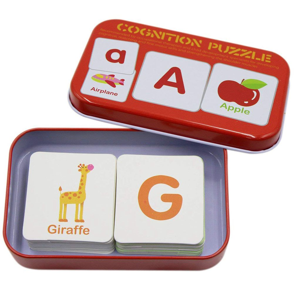 Anti-Tear Flash Cards Learning Alphabet Puzzle Cards, Matching Puzzle Cognitive Early Educational Learning Toys Mental Storage