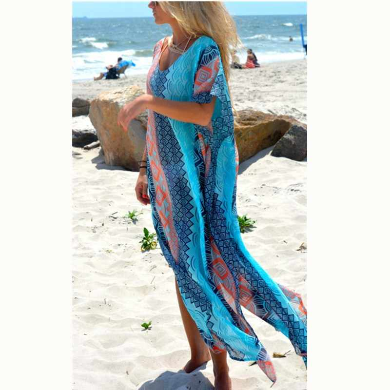 2019 הכי חדש סגנון חוף סארונגים שמלת קצר שרוול צווארון V שיפון בגדי ים בגד ים בגד ים כיסוי Ups שמלה