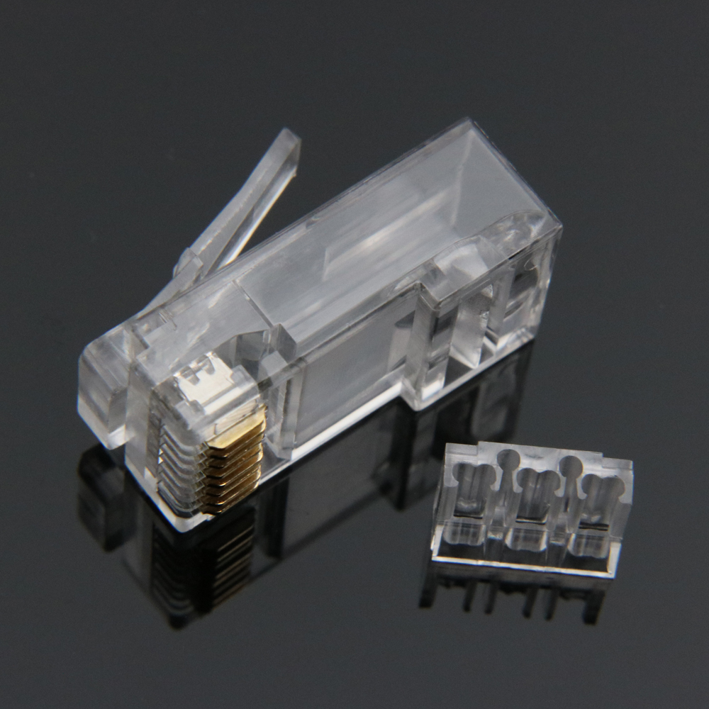 Image 3 - xintylink rj45 connector cat6 ethernet cable plug cat 6 network 8pin rj 45 gold plated utp male 8p8c unshielded load bar 50pcs-in Computer Cables & Connectors from Computer & Office