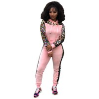 Patchwork Sequin Tracksuit Women 2 Piece Set Hooded Sweatshirt Top and Pants Pink Outfits Sweatsuits Two Piece Set