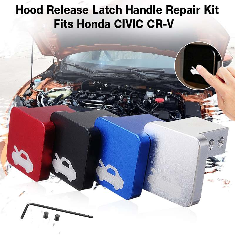 4 Color Hood Latch Handle Release Aluminum Repair Kit tool for <font><b>Honda</b></font> for Civic for CR-V 1996-2005 Element Ridgeline 2006-2014 image