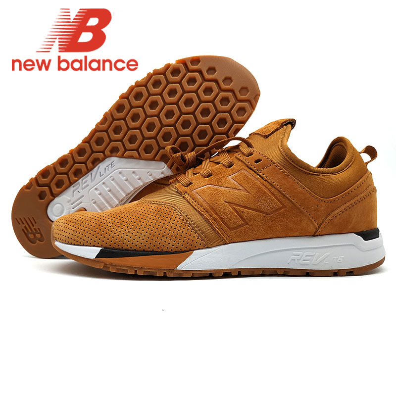 New Balance Nb247 Men's Jogging Shoes Breathable Badminton Shoes Brown New Arrival