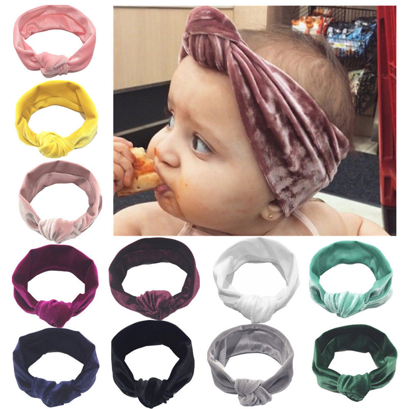 Cute Baby Girl Big Bow Velvet Headband 11 Colors Turban Knotted Ribbon Hair Band Infant Child Accessories   Headwear   Head Wrap