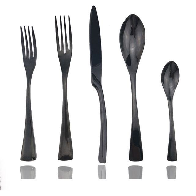 20pcs Mirror Black Cutlery 18/10 Stainless Steel Steak Knife Dinner Dessert Cake Forks Teaspoon Coffee Scoops Dinnerware Set