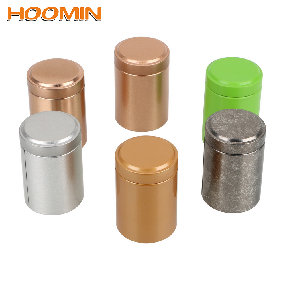 HOOMIN Portable Mini Tea Caddy Alloy Kung Fu Tea Sealed Cans Seal Tea Box Cans Multifunction Dried Fruit Collection Teaware