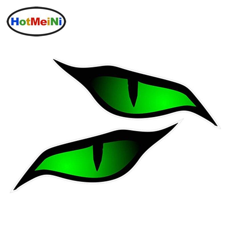HotMeiNi Pair Of Evil Eye Eyes Design In Green For Motorbike Biker Helmet Car Sticker 3D Car Styling 12cm X 5cm