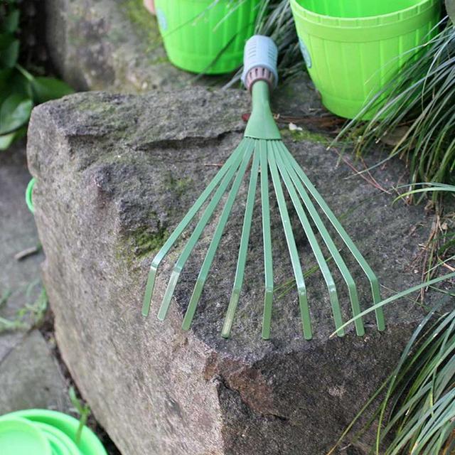 1 Pcs Nine Teeth Grass Rake Sapless Leaf Garden Tools 5
