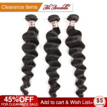 ALI ANNABELLE Brazilian Virgin Hair Loose Wave 100% Human Hair Weave Bundles 1/3/4 Pieces Human Hair Weave Weft Natural Color(China)